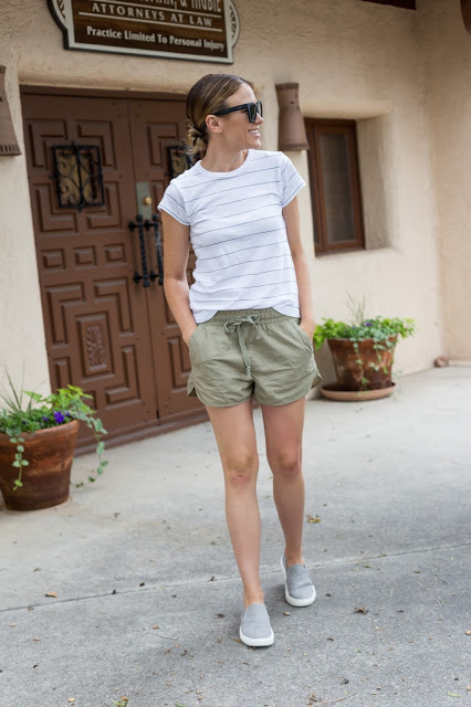 white-horizontal-striped-crew-neck-t-shirt-olive-shorts-grey-slip-on-sneakers-original-26866